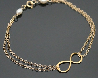 Gold INFINITY Bracelet, Gold Filled and Vermeil, Infinity Bracelet with Pearl Bracelet.