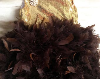 Brown Gold Pageant dress with feathers OOC Fun fashion dress Wedding toddler Dress Princess dresses Flower girl dress baby girl dress