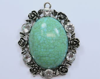 Lovely Bead Lead Free Pewter with Rhinestones Green Oval Resin Turquoise Pendant (53mm)
