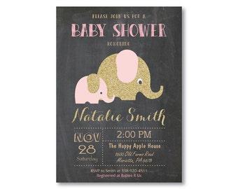 Pink and Gold Elephant Baby Shower Invitation. Girl Baby Shower Invitation. Gold Glitter. A Little Peanut Elephant Shower. Printable Digital