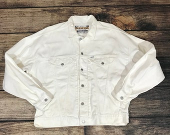 Vintage Guess Denim Jacket White Size XL made in USA Georges Marciano classic style