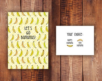 Let's Go Bananas Printable Stationery Set - Instant Download - Greeting Card Journaling Writing Paper Printables
