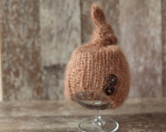 Knitted Newborn Hat,Top Knot Hat, Wool Baby Boy Hat, Hat with buttons, Knit baby hat, Photo prop, Photography,Beanie
