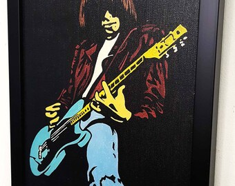 Johnny Ramone - The Ramones - Framed - Wall Art Giclee Canvas Mixed media paint - Great Rock'n'Roll Home Decor-