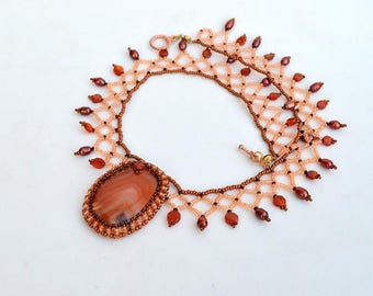Romantic necklace with red onyx Classic style collar necklace with real onyx cabochon and pearls Autumn colors necklace N894