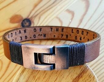 Gift for Men Bracelet Leather Man Leather Bracelet Personalized Leather Bracelet Coordinate Customized Gift