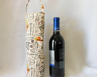 music instruments wine tote gift bag, gift for anyone you likes music, birthday gift for him/her, single wine bottle carrier