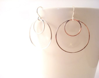 Dainty Silver Hoop Earrings, Dangling Silver Earrings, Silver Geometric Earrings, Silver Circles Earrings, Round Thin Silver Hoop Earrings