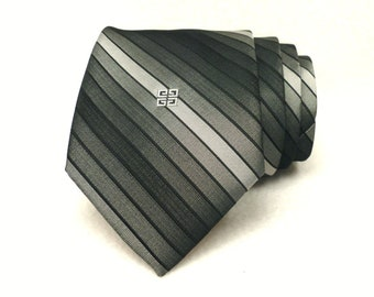 """Vintage Givenchy Gentlemen Paris 3"""" Wide Tie Made in USA Narrow Swing Necktie Grey Silver Stripe, Vintage New From Old Stock"""