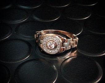 Flexible signet ring, Unique gold signet ring, Flexible ring, Men gold signet ring, CZ signet ring, Royal ring for men, Mens signet ring