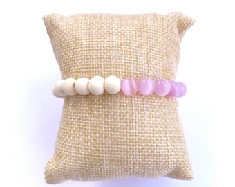 Pink cats eye half-and-half wooden beaded bracelet