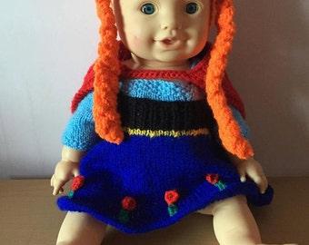 Anna frozen inspired doll's dress set