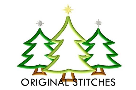 Christmas Tree Trio Applique And Embroidery Digital Design