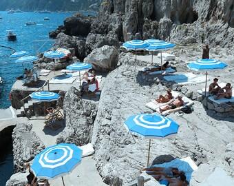 La Fontelina Umbrellas, Amalfi Coast, Capri Boating, Italian Photography, Beach Art, European Coast