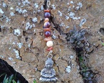 Mookaite and Carnelian Buddha keychain