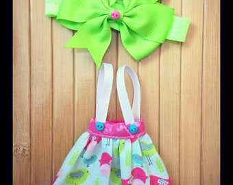 Suspender Skirt and Headband Set for Neo Blythe - Pink Turquoise Sprimg Chicks