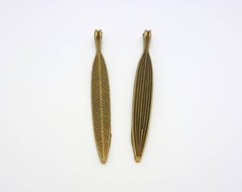 56 * 6mm 2 pendants long leaf spirit ethnic silver metal (CLBB20)