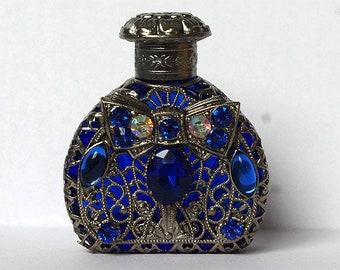 Czech handmade blue rhinestone glass perfume bottles