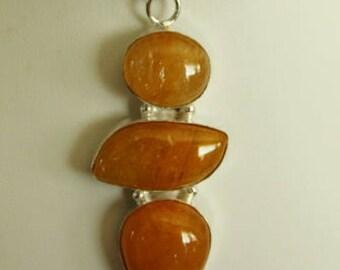 Unique Sunstone Silver Pendant Necklace