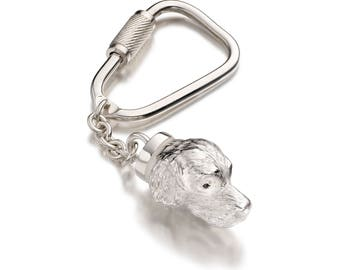 Spaniel Keyring in Solid Silver, set with a choice of Diamond/Sapphires/Rubies/Emeralds
