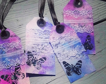 4 x Decorative tags, scrapbook tags, scrapbooking, tags, handmade tags, gift tags, mixed media