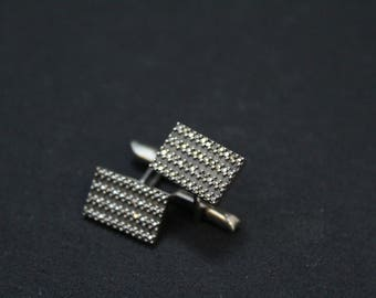 Sterling Silver Art Deco Marcasite Cuff Links, Art Deco Sterling Cuff Links, Marcasite Jewelry, Unique Cuff Links, Sterling Silver Cuff Link