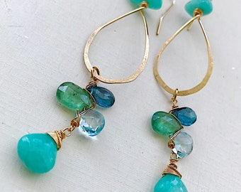 Amazonite Teardrop Hoops