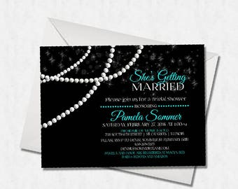 Elegant Black, White and Teal Light Blue Turquoise Bridal or Baby Shower or Birthday or Bachelorette Party Printable or Physical Invitation