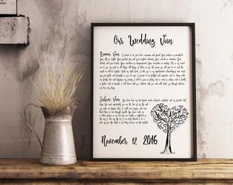 Your wedding vows print, personalised wedding vows, wedding vow set, wedding vow print, wedding reading, lyrics, anniversary, typography