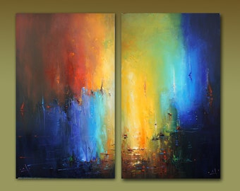 Set Of 2 Large Contemporary Painting, Abstract Art, Original Artwork, Extra Large Wall Art, Living Room Wall Decor, Large Seascape Painting