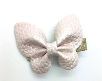 Leather Butterfly Hair Clip Pale Pink Leather Hair Clip Girls Hair Clip Spring Hair Clip