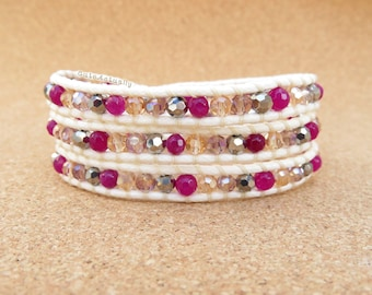 Purple stone wrap bracelet with silver crystal on soft white polyester cord