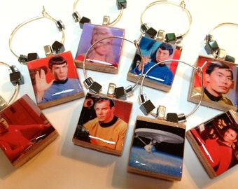 Original Star Trek and Next Generation Scrabble Tile Wine Glass Charms