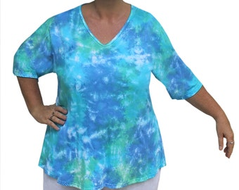 Plus Size Tunic Top | Boho Plus Size Top, Womens Plus Size Tie Dye Clothing, Plus Size Clothes, Plus Size 1X 22/24 for the Full Figure Woman