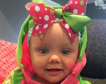Bow Crown, Lil Strawberry (Hair Bow Attached by Band, Newborn-3 Yrs)
