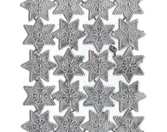 Dresden Stars Trim Germany 20 Bumpy Victorian Silver Paper Double Stars DF 8318S