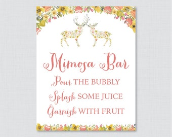 Mimosa Bar Sign with Flower Deer - Floral Woodland Bridal Shower Mimosa Bar Sign Printable - Whimsical Flower Bridal Shower Sign - 0022