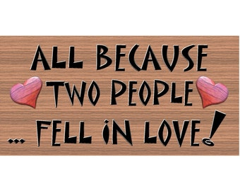 Wood Signs - Two People in Love - Romantic Sign - Romantic plaque