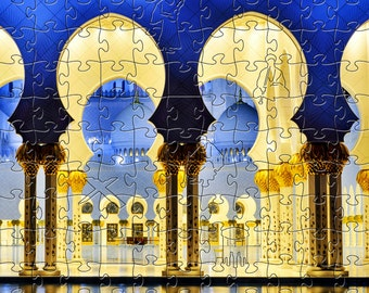 White Mosque Zen Puzzle - Hand crafted, eco-friendly, American made artisanal wooden jigsaw puzzle