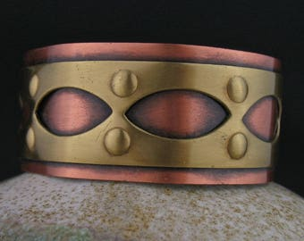 Vintage Copper Brass Intarsia Cuff Bracelet, Mixed Metals Cuff, Vintage Copper Brass Jewelry, Mixed Metals Jewelry