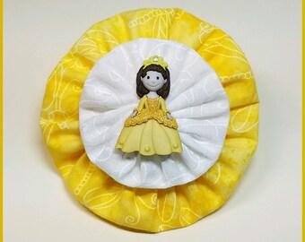 Yo-Yo Princess Hair Bow / Flower / Clip / Yo Yo Fabric & Button