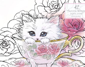 Digital Stamp - Instant Download - Kitten in a Teacup - Cat and Roses - Fantasy Line Art for Cards & Crafts by Mitzi Sato-Wiuff