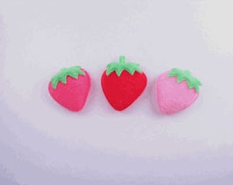 60 PIECES -  Padded Furry Strawberry Applique  (Red,fuchsia,Pink or Mixed colors)