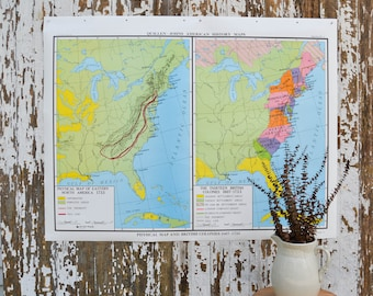 Vintage School Map - Large United States Nystrom US World History British Pull Down Canvas