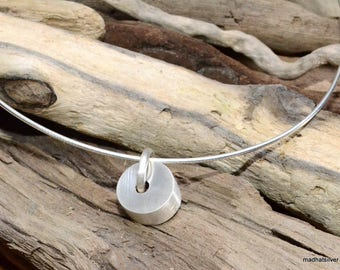 Silver pendant with brushed silver bead, contemporary, statement piece