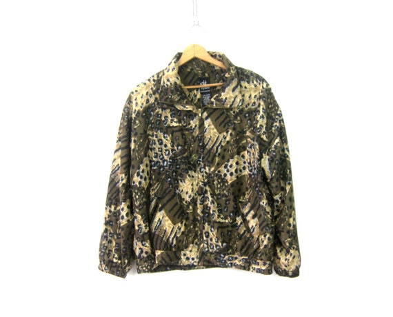 Animal Print Jacket Retro Windbreaker Jacket 90s Coat Brown Feather pattern Slouchy Hipster Coat Vintage Womens Large