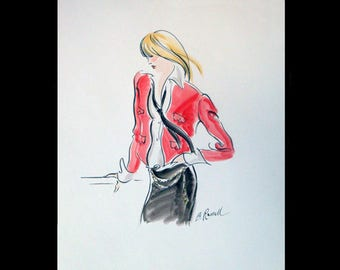 """90's Fashion Illustration, Chanel Fashion, Original Ink and Watercolor, Fashion Art, Pen and Ink Drawing, Fashion Design, 14"""" x 17"""""""