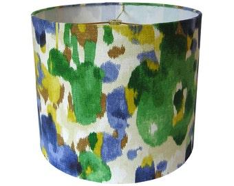 Lamp Shade Lampshade Pendant Landsmeer by Robert Allen Ultramarine Emerald Green Blue Made to Order