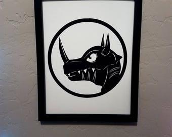 Greymon (Digimon) | Papercut Silhouette