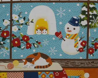 Furoshiki Cloth 'Calico Cat and Snowman' Cotton Japanese Fabric 50cm w/Free Insured Shipping